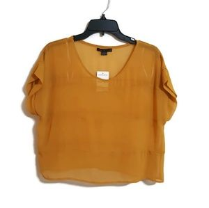 NWT sheer mustard color top sz S (flawed)